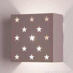 Applique murale carré en métal motif étoiles 20x10.5 cm Estrella