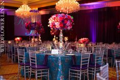 Camilla Teal with Diana Eggplant Chair Covers   Exquisite Events   Braja Mandala Photography