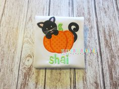 Fun Halloween Kitty with Pumpkin Appliqued Shirt - Embroidered, Personalized, Monogram, Halloween, Black Cat, Pumpkin, Girls or Boys Shirt by MaddyBelleBoutique on Etsy https://www.etsy.com/listing/205931467/fun-halloween-kitty-with-pumpkin