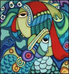 """by Daphne Odjig, Anishinaabe (Odawa & Potawatami) from Wikwemikong Manitoulin Island, ON """"One In Many And Many In One"""""""