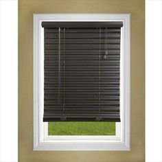 Perfect Lift Window Treatment Dark Oak 2 in. Cordless Faux Wood Blind - 28 in. W x 64 in. L at The Home Depot - Mobile Window Coverings, Window Treatments, Vinyl Blinds, Faux Wood Blinds, Wooden Windows, Decorative Windows, Blinds For Windows, Window Blinds, House Blinds