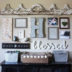 Courtney's gallery wall always gives me all the warm fuzzies. That girl knows how to curate and style! The Hamby Home ❤️❤️ This is a 9 foot for all you Neutral lovers out there. Decor, Farmhouse Decor, Gallery, Rustic Decor, Living Room Decor, Wall, Home Decor, Farmhouse Gallery Wall, Rustic House