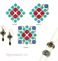 FREE Tutorial for Earrings/Pendant/Ring Components VICTORIAN BICONES. Small component: bicone beads 4mm in color A and color B, 12 bicones 3mm. For the large component add: seed beads 11/0 and 15/0. PAGE 2 OF 2