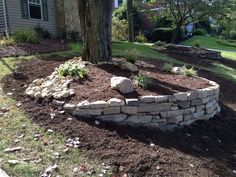 DIY Garden Retaining Walls Ideas For Your Backyard 25 - Gartenkunst River Rock Landscaping, Landscaping Around Trees, Landscaping With Rocks, Front Yard Landscaping, Backyard Landscaping, Landscaping Ideas, Backyard Ideas, Pool Ideas, Mulch Ideas