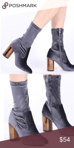 Public desire Elva Mirrored Heel Ankle Boots Elva Mirrored Heel Ankle Boots in Grey Velvet. New! Never worn out! I love this boot very much! Not too high and super comfy!!! Sadly too big for me (I'm 7.5)  boots are US 8 UK 6 public desire Shoes Ankle Boots & Booties