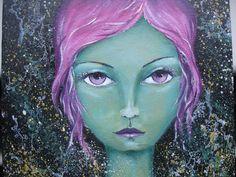 Original Mixed Media Fantasy Mermaid Girl Painting By Sujati Art Studio by VividSpirit on Etsy