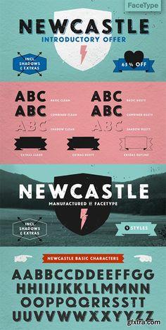 Newcastle Font Family - 9 Font 36$