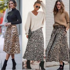 Discover recipes, home ideas, style inspiration and other ideas to try. Printed Skirt Outfit, Leopard Skirt Outfit, Leopard Print Outfits, Leopard Print Skirt, Printed Skirts, Skirt Outfits, Winter Fashion Outfits, Look Fashion, Skirt Fashion