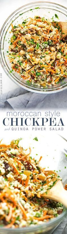 Moroccan Chickpea Quinoa Power Salad - A quick salad loaded with sooo much flavor and it's perfect as a side or a main meal! Moroccan Chickpea Quinoa Power Salad - A quick salad loaded with sooo much flavor and it's perfect as a side or a main meal! Moroccan Chickpea Salad, Moroccan Salad, Lentil Quinoa Salad, Mediterranean Quinoa Salad, Vegetarian Quinoa Salad, Quinoa Salmon, Vegan Broccoli Salad, Vegetarian Fajitas, Quinoa Curry