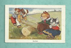 1915 Postcard A E Kennedy : See Saw with Puppies and Kittens | eBay