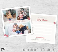 Christmas Gift Certificate, Photoshop Template, Photography Gift Certificate, Christmas Gift Card, Holiday Gift Card, Marketing - 01-006-GC