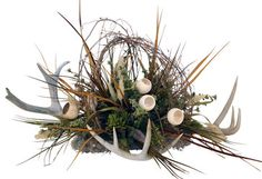 Antler Floral Centerpiece - rustic - Artificial Flowers Plants And Trees - Bitterroot Bit and Spur Antler Centerpiece, Rustic Centerpieces, Centerpiece Ideas, Fall Floral Arrangements, Funeral Arrangements, Antler Crafts, Antler Art, Antler Wreath, Cemetery Flowers