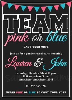 chalkboard gender reveal party invitation blue or pink what do