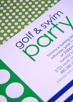 golf and swim party. love the idea of a golf theme and love the colors. too cute. #boy #birthday