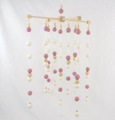 Baby Mobile Scandinavian Felt Ball and Wooden Beads-Pink Scandinavian Nursery, Felt Ball, Meraki, Whats New, Nursery Room, Wooden Beads, All Design, Wooden Toys, New Baby Products