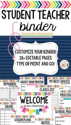 Student teaching binder that includes everything a student teacher needs to have a successful experience! Gift this to your new student teacher, or fill it in as you begin your student teaching!! Includes BOTH editable & printable pages!