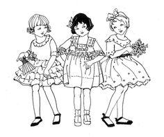 Little girls fashion drawing - Stitching Projects Colouring Pages, Coloring Books, Art Rules, Vintage Drawing, Hand Embroidery Patterns, Digi Stamps, Painting Patterns, Vintage Dolls, Vintage Children