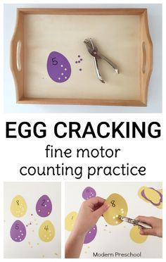 Crack those eggs! Practice counting, numbers, and fine motor skills with presch… Crack those eggs! Practice counting, numbers, and fine motor skills with preschoolers & kindergarteners with this Easter or spring themed activity! Motor Skills Activities, Counting Activities, Montessori Activities, Spring Activities, Kindergarten Activities, Montessori Elementary, Easter Activities For Preschool, Preschool Fine Motor Skills, Preschool Dinosaur