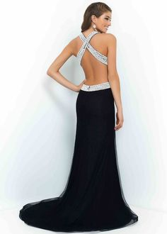 Cheap Black White Beaded Halter Criss Cross Back Evening Dresses