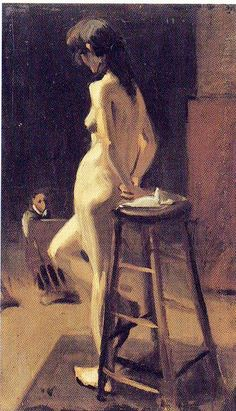 Edward Hopper (1882-1967)  ~ Standing Female Nude with Painter in Background, 1904