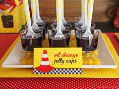 'oil change' jelly cups for a car party