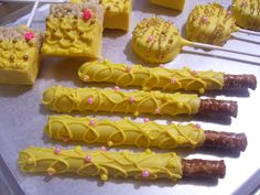 Princess themed ~  Beauty and the Beast ~ Chocolate covered Party Favors ~ Pretzel Rods ~ Oreo / Oreo Pops ~ Rice Krispie Treat Pops ~ Visit Marie Grahams on Etsy to see more.