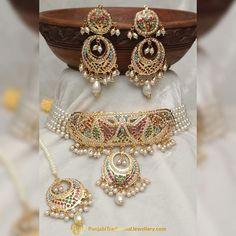 Gold Finished Navratan Jadau Choker Set by Punjabi Traditional Jewellery Jewelry Design Earrings, Mom Jewelry, Royal Jewelry, Gold Jewellery Design, Indian Jewelry, Jewelery, Punjabi Traditional Jewellery, Rajputi Jewellery, Gold Jewelry Simple
