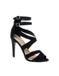 Black Extreme Strap Single Sole Heeled Sandals