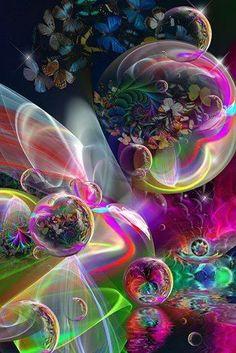 Bubbles and Flowers Fractal Art Fractal, Fractal Design, Art Beauté, Foto Poster, Wow Art, Art Graphique, Psychedelic Art, Sacred Geometry, Belle Photo
