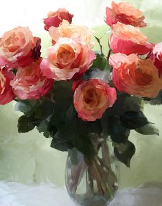 Peachy Pink Roses, digital painting by Sherrie Rieger - www.sherrierieger.com