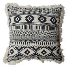 Yarn Dyed Multi Geo Fringe Square Decorative Pillow Cream - Room Essentials™ : Target