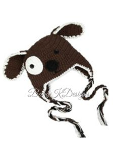 SAVE 15% Crochet Brown Puppy Dog  Boy Girl Beanie hat. Knitted Winter Beanie ear flaps Baby Hat / Unisex Silver n Black Premium Knit hat on Etsy, $15.95