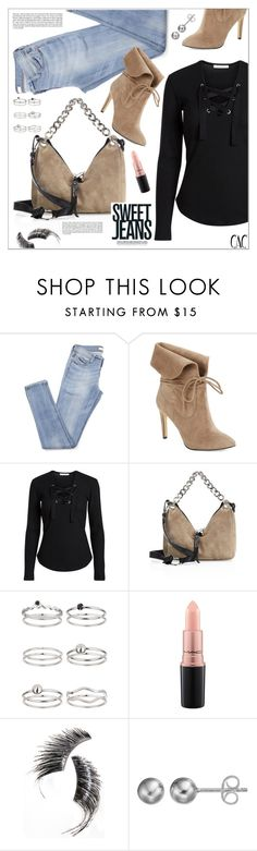 """""""Sweet Jeans"""" by christinacastro830 ❤ liked on Polyvore featuring 424 Fifth, Jimmy Choo, Miss Selfridge, MAC Cosmetics, Beauty Is Life and Journee Collection"""