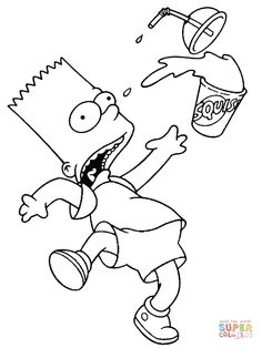 Oops Bart Squished The Drink | Super Coloring