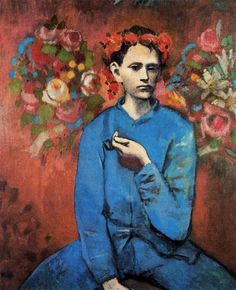 """Picasso - Boy with a pipe.Picasso painted this picture at 24 in 1905 during the """"Pink Period"""". Picasso was inspired by the composition of the young people of Montmartre Kunst Picasso, Art Picasso, Picasso Blue, Picasso Paintings, Oil Paintings, Picasso Prints, Indian Paintings, Abstract Paintings, Landscape Paintings"""