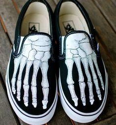 Hand Painted Skeleton Boney Feet Slip On Vans shoes
