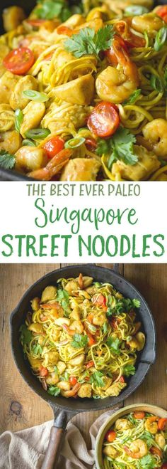 Paleo Singapore Noodles, made with zucchini noodles - zoodles , shrimp, chicken and tasty mild curry flavored sauce with added turmeric! This Singapore street noodles recipe is packed with authentic flavors, it is Gluten free, healthy, low carb with Whole30. If you're looking for a PF Chang's Street Noodles recipe to make at home, this is it!