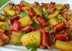 Kung Pao Chicken, Food Videos, Ham, Potato Salad, Stuffed Peppers, Food And Drink, Potatoes, Menu, Vegetables