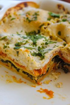Pumpkin & Kale Lasagna by foxeslovelemons: A hearty dish filled with fall flavors like pumpkin and sage. Can be vegetarian, or chicken sausage may be added, if desired.  #Lasagna #Pumpkin #Kale