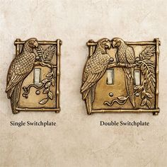 coastal parrot wall hangings | Parrot Single Switchplate Antique Brass