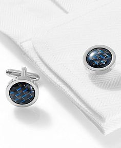 Geoffrey Beene Cufflinks, Polished Rhodium Round With Black And Blue Carbon…