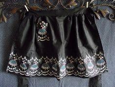 Handmade Hand Sewn Shiny Black Vintage Waist Apron with Flocked and Beaded Dancer Motif