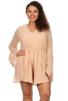 Plus Size Bell Sleeve Romper   Elohai Plus Size Boutique   Trendy Clothing for Women