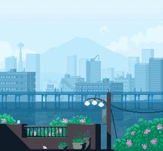 not my pixel art Pixel Art Gif, Anime Pixel Art, Cool Pixel Art, Aesthetic Gif, Aesthetic Wallpapers, Pixel City, Orange Pastel, Arte 8 Bits, Pixel Art Background