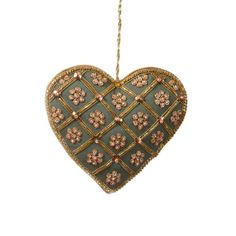 In teal silk and hand-embroidered with gold metal thread, our heart decoration is the perfect favour for your loved one. Embroidered Christmas Ornaments, Christmas Tree Ornaments, Christmas Crafts, Christmas Decorations, Holiday Decor, Christmas Time, Diy Embroidery Flowers, Christmas Fair Ideas, Heart Tree