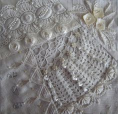 I ❤ crazy quilting & ribbon embroidery . . . Block made for Ati in CQE. ~By Margreet from Holland