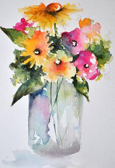 Acuarela ORIGINAL pintura de flores de naturaleza por ArtCornerShop