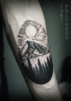 Mountain lake, tree silouhets tattoo                              …