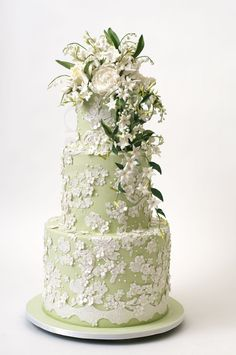 wedding cake inspiration Ron Ben Isreal wedding cakes pale green ivory floral and Reception, York, Ben-Isreal, Cake Baker, Cakes Elegant Wedding Cakes, Elegant Cakes, Beautiful Wedding Cakes, Gorgeous Cakes, Wedding Cake Designs, Pretty Cakes, Amazing Cakes, Nyc Cake, Green Cake