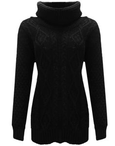 Stylish Turtle Neck Long Sleeve Slimming Solid Color Women's Sweater
